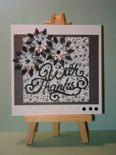 With thanks floral monochrome card Unique Cards, Monochrome, Black And White, Frame, Floral, Gifts, Handmade, Etsy, Design