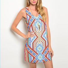 Multicolored dress Multi colored dress 100% polyester.   Willing to negotiate prices Dresses Mini