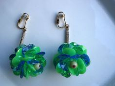 1960s Green Blue Plastic Sequin Clip On Pierced by bycinbyhand, $12.00