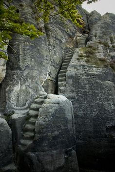 13th century staircase cut into the Elbe Sandstone Mountains, Saxony, Germany.