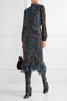 Saloni | Isa ruffle-trimmed printed silk-crepe midi dress | NET-A-PORTER.COM