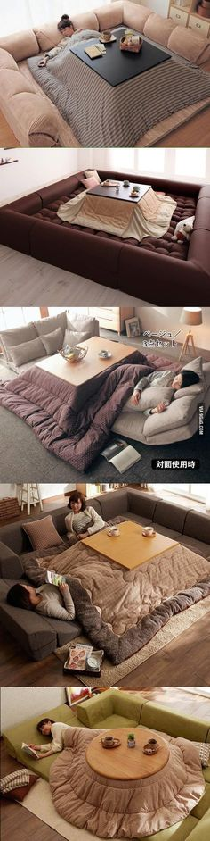 Kotatsu: the epitome of cozy. I swear if I had this I would never leave my room. Interior Design Living Room, Living Room Decor, Bedroom Decor, Kitchen Interior, Japanese Interior, Japanese House, Japanese Style, My Dream Home, Cool Furniture