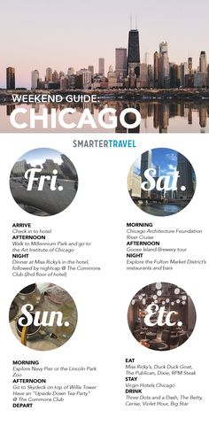Here's how to do a weekend in Chicago. Here's how to do a weekend in Chicago. Discover where to eat, stay, sightsee, and go out in the Windy City at any time of year. Chicago Hotels, Chicago Vacation, Visit Chicago, Chicago Travel, Travel Usa, Chicago Trip, Chicago Attractions, Atlanta Travel, Chicago Restaurants