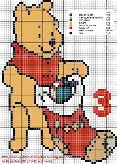 Winnie the Pooh x-stitch Santa Cross Stitch, Cross Stitch Bookmarks, Cross Stitch Cards, Beaded Cross Stitch, Cross Stitch Embroidery, Disney Stitch, Christmas Embroidery Patterns, Needlepoint Patterns, Unicorn Cross Stitch Pattern