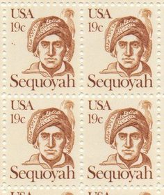 Sequoyah Set of 4 x 19 Cent US Postage Stamps NEW Scot 1859 . $10.95. One set of four (4) Sequoyah 4 x 19 Cent postage stamps Scot #1859