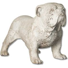 Life-size bulldog statue. Looks like he's ready to do his job and protect the family. An excellent depiction of a bulldog stance. The way they hold their ground and will not back down. Makes the bulldog a wonderful family pet and protector. Shown in a fiber stone finish.