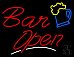 Bar Open with white underline Beer Mug Neon Sign 24 Tall x 31 Wide x 3 Deep, is 100% Handcrafted with Real Glass Tube Neon Sign. !!! Made in USA !!!  Colors on the sign are Yellow, Blue, White and Red. Bar Open with white underline Beer Mug Neon Sign is high impact, eye catching, real glass tube neon sign. This characteristic glow can attract customers like nothing else, virtually burning your identity into the minds of potential and future customers.