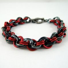 Sold - Double Spiral Chainmail Bracelet Red and Gunmetal Black