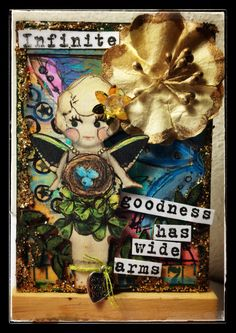 ATC created for Retro Cafe Art  Gallery  -Hello Dollie Nature Fairy collage sheet  -Made with Love silver heart charm