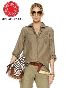 MICHAEL Michael Kors   Safari Shirt ($99.50) in Safari Green