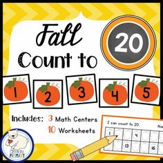 Numbers 1-20:  Fall Count to 20 includes 3 Math Center Activities and  10 Worksheets  to reinforce counting and number order to 20. Included: 3 Sets of number cards 1-201 Set of Missing Number StripsMath center recording sheets Number Lines 10 Worksheets - Quick and easy to prepare.