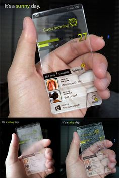 Weather Cell Phone Concept Beautiful cell phone concept design by Seunghan Song accurately detects and illustrates present weather condition...