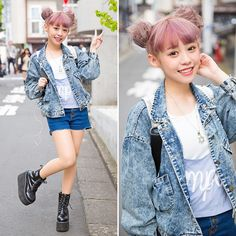 Taiwanese model @eatzz7 (Kimi) on the street in Harajuku with a lilac twin buns hairstyle, denim jacket, cutoffs, and platform shoes.