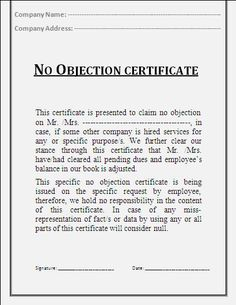 no objection certificate for business