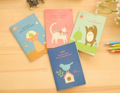 Cute Cartoon Country Style Bear Cat Bird Mini Notebook Diary Planner Notepad for Kids Gift Office School Stationery 4pcs/set