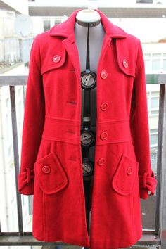 #Red #Retro Style Modern #Vintage #Mod Coat, #Autumn, #Winter, #Cool Jacket, sixties cut, large pockets, front buttons, Red Riding Hood, 40EU size by DurgaUniverse on Etsy #modcoat #retrostyle #groovy #bright #40EU #medium