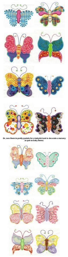 applique and embroidery butterflies.