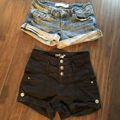 Cute Shorts Black shorts are my refuge and are cotton and spandex. They have belt loops and three cute button up with silver buttons. Denim shorts by Charlotte Roos Jeans