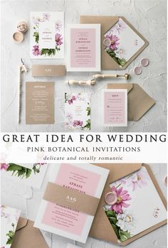 Great idea for spring and summer weddings - romantic pink botanical wedding invitation. Lovely wedding invites with flower liners will be a great idea for botanical theme wedding. Elegant and romantic at once. Might be customized with other colors, fonts or decorative wax seals. Blossom wedding invites for your fine art wedding. #wedding #elegant #ideas #weddingdecoration #weddingdecorationssummer