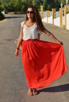 long red skirt - Google Search