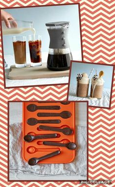 Too hot for hot coffee, cool down with this Cold Brew Coffee maker. Use the spoon mold to make coffee cubes to put in your cold coffee. Make your own Iced Mocha.