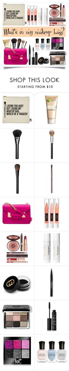 """What's in my makeup bag?"" by aphrodite-shomaly ❤ liked on Polyvore featuring beauty, Sephora Collection, Garnier, Gucci, MAC Cosmetics, NARS Cosmetics, Urban Decay, Sophie Hulme, Victoria's Secret and Charlotte Tilbury"