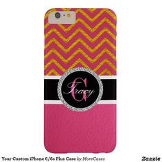 Your Custom iPhone 6/6s Plus Case Barely There iPhone 6 Plus Case Brilliant Dazzling ladies pink leather( photo effect only) and Elegant Monogram Names with a pink and gold chevron pattern .This Trendy gift is for any girl who totally wants the latest in fashion and styles. With a bold look and a modern design.