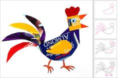 Rooster collage from recycled boxes.