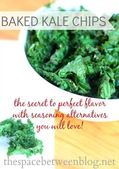 if you've burned your kale chips before this is the secret you've been looking for, and great seasoning alternatives are included with this recipe