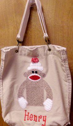 sock monkey tote with monogram name by SugarRidgeBabies on Etsy, $39.00
