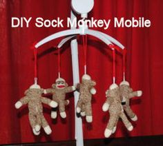 Homemade Baby Sock Monkey Crib Mobile: Here's the homemade sock monkey crib mobile that I made to go with the custom sock monkey baby bedding that I bought for our baby boy's nursery! We decided Monkey Baby Rooms, Sock Monkey Nursery, Sock Monkey Baby, Baby Nursery Themes, Baby Decor, Baby Theme, Nursery Ideas, Room Ideas, Baby Crib Mobile