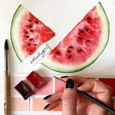 ideas fruit sketch how to paint for 2019 Watercolor Fruit, Fruit Painting, Watercolor Drawing, Painting & Drawing, Watercolor Flowers, Sketch Drawing, Drawing Ideas, Sketch Ideas, Gouache Painting