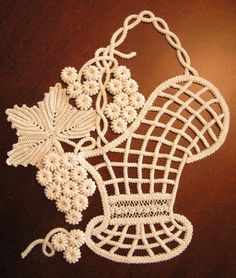 Best 12 KIT This gorgeous Victorian Grape Basket KIT is made in Romanian Point Lace and can be used as framed or as an appliquee on a pillow. The kit contains: reusable fabric pattern, DMC Cebelia cotton threads for working the braids, the leaves and Crochet Doily Patterns, Macrame Patterns, Crochet Doilies, Crochet Flowers, Fabric Patterns, Crochet Lace, Crochet Stitches, Crochet Hooks, Dress Patterns
