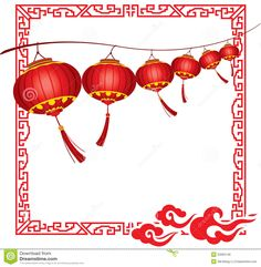 chinese red lanterns   String of bright hanging Red Chinese lanterns decorations in different ...