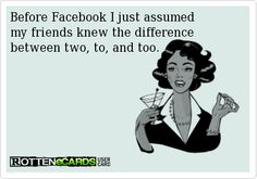 Before Facebook I just assumed   my friends knew the difference   between two, to, and too.
