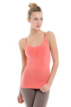 Lolë's tank top gets in the flow with its slim silhouette, integrated bra and delicate straps. The four-way stretch, eco-friendly fabric feels cottony soft, but dries faster to keep you fresh and dry. Integrated bra with s