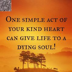 One simple act of your kind heart can give life to a dying soul.  Remember that you can make a difference in the life of others by being yourself!