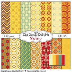 Autumn Spicy Digital Papers Fall Card Making by DigiScrapDelights,  #digital #printable $Scrapbook