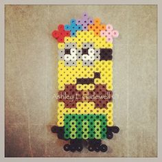 Minion Despicable Me 2 perler beads by ashleyeglidewell Fuse Bead Patterns, Perler Patterns, Beading Patterns, Minions, Bead Crafts, Diy Crafts, Minion Craft, Minion Christmas, Peler Beads