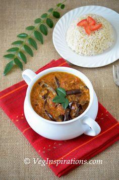 oven roasted eggplant in coconut milk curry gravy - vegan