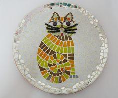 Quadro de gato em mosaico. Base em cerâmica. Fazemos sob encomenda.