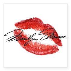 Marilyn Monroe Signature & Lips Sticker on CafePress.com