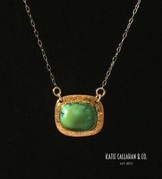 Turquoise and Yellow Gold Bezel Set Art Deco Pendant (Vintage) * Turquoise has been beloved to hold mystical properties by almost every civilization. We can't say for certain but we're pretty sure this pendant can turn date night into DATE NIGHT! <wink> * Katie Callahan & Co.