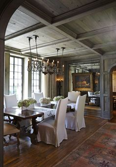 French Country Home - Simply gorgeous, large french country dining room. I love the mirrored wall space with the painting hanging over it - beautiful effect. Country Dining Rooms, French Country House, French Country Dining, Dining Room Design, Beautiful Dining Rooms, House Interior, Home Renovation, Tudor House, Sweet Home