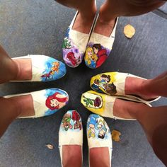 Hand painted Disney TOMs. Easy to make and such a big hit at Disney World! Please someone who is talented with painting paint Cinderella or Beauty and the Beast or Ariel or Sleeping Beauty on Toms for me!