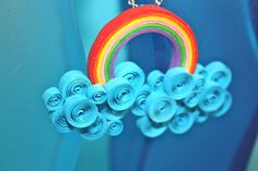 Rainbow Cloud Quilled Necklace. $12.00, via Etsy.