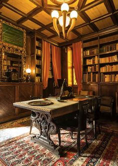 """Gabriele D'Annunzio. Vittoriale degli Italiani a Gardone Riviera. """"Stanza del Mascheraio"""". On the table the rare """"Horse"""" by A.Kelety. Etling Foundry, Paris."""