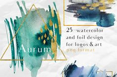 Aurum-25 watercolor splash & glitter by holaholga on @creativemarket