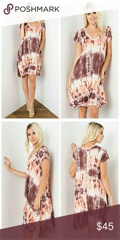 ** COMING SOON** Evangeline V-neck Dress V neck, short sleeve dress with Tie-dye print detail and pockets at the side.   Fabric: 96% Rayon 4% Spandex   Made in USA   No trades.  No holds. No modeling.   Thanks for understanding! Dresses