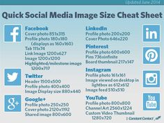 Quick Social Media Image Size Cheat Sheet (June 2014) - #SocialMedia #SocialNetworks #Infographic